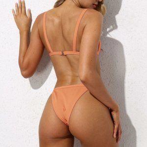 SHEIN Apricot Rib Knit  Bikini Set👙Sz S